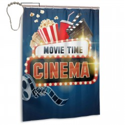 Shining Movie Time011 Shower Curtain , Shower Bathroom Curtain 55x72 Inch Waterproof Fabric with Hooks , Wildly used in bathroom and hotel etc.