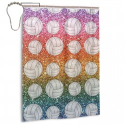 Rainbow Glitter Volleyball Shower Curtain , Shower Bathroom Curtain 55x72 Inch Waterproof Fabric with Hooks , Wildly used in bathroom and hotel etc.