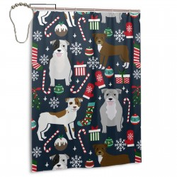 Pitbull Terrier Xmas Dog Shower Curtain , Shower Bathroom Curtain 55x72 Inch Waterproof Fabric with Hooks , Wildly used in bathroom and hotel etc.