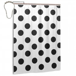 Polka Dot Black White Shower Curtain , Shower Bathroom Curtain 55x72 Inch Waterproof Fabric with Hooks , Wildly used in bathroom and hotel etc.