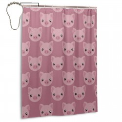 Pink Cartoon Pig Face Shower Curtain , Shower Bathroom Curtain 55x72 Inch Waterproof Fabric with Hooks , Wildly used in bathroom and hotel etc.