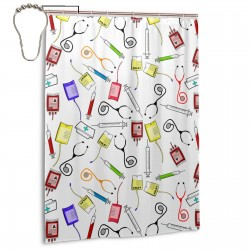 Nurse Tools Shower Curtain , Shower Bathroom Curtain 55x72 Inch Waterproof Fabric with Hooks , Wildly used in bathroom and hotel etc.