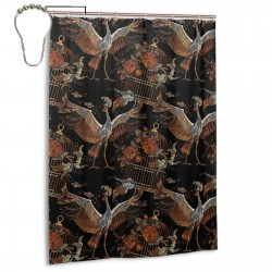 Crane Birds Golden Cage And Roses Shower Curtain , Shower Bathroom Curtain 55x72 Inch Waterproof Fabric with Hooks , Wildly used in bathroom and hotel etc.