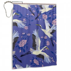 Crane Pattern Shower Curtain , Shower Bathroom Curtain 55x72 Inch Waterproof Fabric with Hooks , Wildly used in bathroom and hotel etc.