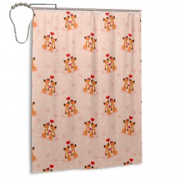 Couple Fox Shower Curtain , Shower Bathroom Curtain 55x72 Inch Waterproof Fabric with Hooks , Wildly used in bathroom and hotel etc.