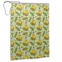 Corn Corn Oil Vector Pattern Shower Curtain , Shower Bathroom Curtain 55x72 Inch Waterproof Fabric with Hooks , Wildly used in bathroom and hotel etc.