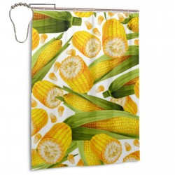 Corn Cob Shower Curtain , Shower Bathroom Curtain 55x72 Inch Waterproof Fabric with Hooks , Wildly used in bathroom and hotel etc.