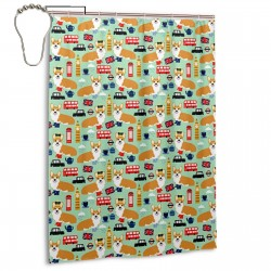 Corgis In London UK British England Shower Curtain , Shower Bathroom Curtain 55x72 Inch Waterproof Fabric with Hooks , Wildly used in bathroom and hotel etc.