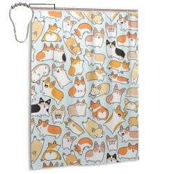 Corgilicious Corgi Doodle Shower Curtain , Shower Bathroom Curtain 55x72 Inch Waterproof Fabric with Hooks , Wildly used in bathroom and hotel etc.