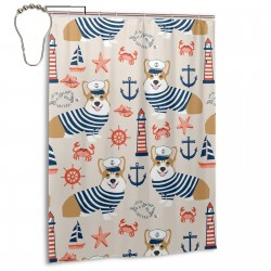 Corgi Nautical Summer Shower Curtain , Shower Bathroom Curtain 55x72 Inch Waterproof Fabric with Hooks , Wildly used in bathroom and hotel etc.