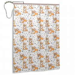 Corgi Element Funny Dog Shower Curtain , Shower Bathroom Curtain 55x72 Inch Waterproof Fabric with Hooks , Wildly used in bathroom and hotel etc.