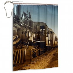 Cool Steam Train And Railway Shower Curtain , Shower Bathroom Curtain 55x72 Inch Waterproof Fabric with Hooks , Wildly used in bathroom and hotel etc.