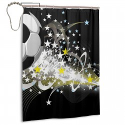 Cool Soccer Shower Curtain , Shower Bathroom Curtain 55x72 Inch Waterproof Fabric with Hooks , Wildly used in bathroom and hotel etc.