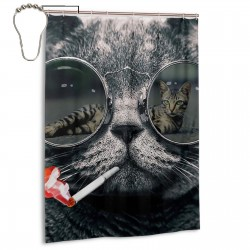 Cool Smoking Sunglasses Cat Shower Curtain , Shower Bathroom Curtain 55x72 Inch Waterproof Fabric with Hooks , Wildly used in bathroom and hotel etc.