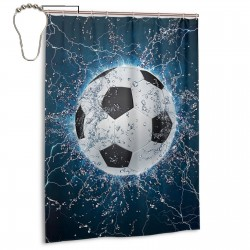 Cool Soccer Print Shower Curtain , Shower Bathroom Curtain 55x72 Inch Waterproof Fabric with Hooks , Wildly used in bathroom and hotel etc.