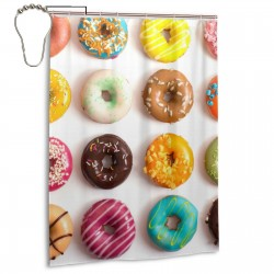 Cool Donut Shower Curtain , Shower Bathroom Curtain 55x72 Inch Waterproof Fabric with Hooks , Wildly used in bathroom and hotel etc.