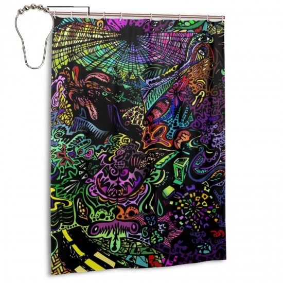 Cool Color Illustrations Shower Curtain , Shower Bathroom Curtain 55x72 Inch Waterproof Fabric with Hooks , Wildly used in bathroom and hotel etc.