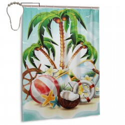 Cool Coconut Tree Shower Curtain , Shower Bathroom Curtain 55x72 Inch Waterproof Fabric with Hooks , Wildly used in bathroom and hotel etc.