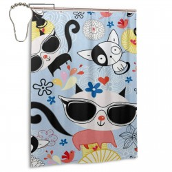 Cool Cat Kitten Shower Curtain , Shower Bathroom Curtain 55x72 Inch Waterproof Fabric with Hooks , Wildly used in bathroom and hotel etc.