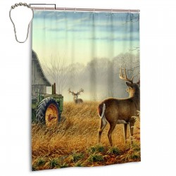 Cool Ancient Tractor And Cute Deer Shower Curtain , Shower Bathroom Curtain 55x72 Inch Waterproof Fabric with Hooks , Wildly used in bathroom and hotel etc.