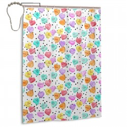 Conversation Hearts Pattern Shower Curtain , Shower Bathroom Curtain 55x72 Inch Waterproof Fabric with Hooks , Wildly used in bathroom and hotel etc.