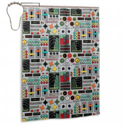Control Panel Shower Curtain , Shower Bathroom Curtain 55x72 Inch Waterproof Fabric with Hooks , Wildly used in bathroom and hotel etc.