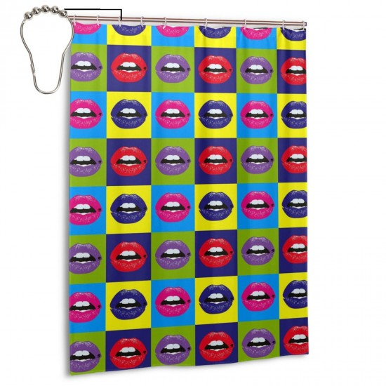 Colourful Lips Shower Curtain , Shower Bathroom Curtain 55x72 Inch Waterproof Fabric with Hooks , Wildly used in bathroom and hotel etc.