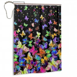 Colourful Butterflies Shower Curtain , Shower Bathroom Curtain 55x72 Inch Waterproof Fabric with Hooks , Wildly used in bathroom and hotel etc.