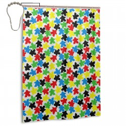 Coloured Meeple Shower Curtain , Shower Bathroom Curtain 55x72 Inch Waterproof Fabric with Hooks , Wildly used in bathroom and hotel etc.
