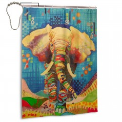 Colors Elephants Shower Curtain , Shower Bathroom Curtain 55x72 Inch Waterproof Fabric with Hooks , Wildly used in bathroom and hotel etc.