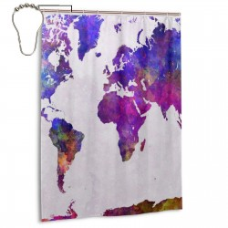 Colorful World Map Shower Curtain , Shower Bathroom Curtain 55x72 Inch Waterproof Fabric with Hooks , Wildly used in bathroom and hotel etc.