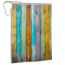 Colorful Wood Vintage Pattern Beautiful Rainbow Shower Curtain , Shower Bathroom Curtain 55x72 Inch Waterproof Fabric with Hooks , Wildly used in bathroom and hotel etc.