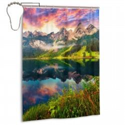 Colorful Summer Sunrise Lake Austrian Shower Curtain , Shower Bathroom Curtain 55x72 Inch Waterproof Fabric with Hooks , Wildly used in bathroom and hotel etc.