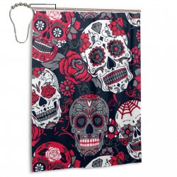 Colorful Sugar Skull With Floral Shower Curtain , Shower Bathroom Curtain 55x72 Inch Waterproof Fabric with Hooks , Wildly used in bathroom and hotel etc.