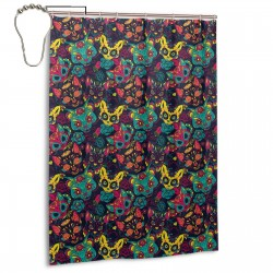 Colorful Sugar Cat Skull Floral Shower Curtain , Shower Bathroom Curtain 55x72 Inch Waterproof Fabric with Hooks , Wildly used in bathroom and hotel etc.