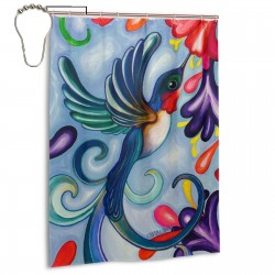 Colorful Spring Summer Hummingbird Shower Curtain , Shower Bathroom Curtain 55x72 Inch Waterproof Fabric with Hooks , Wildly used in bathroom and hotel etc.
