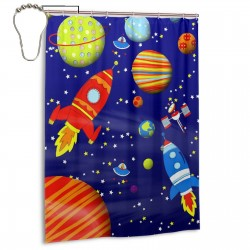 Colorful Space Astronaut Shower Curtain , Shower Bathroom Curtain 55x72 Inch Waterproof Fabric with Hooks , Wildly used in bathroom and hotel etc.