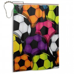 Colorful Soccer Print Shower Curtain , Shower Bathroom Curtain 55x72 Inch Waterproof Fabric with Hooks , Wildly used in bathroom and hotel etc.