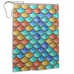 Colorful River Fish Scales Pattern Shower Curtain , Shower Bathroom Curtain 55x72 Inch Waterproof Fabric with Hooks , Wildly used in bathroom and hotel etc.