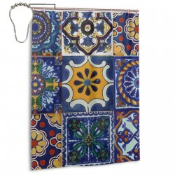 Mexican Talavera Tiles Shower Curtain , Shower Bathroom Curtain 55x72 Inch Waterproof Fabric with Hooks , Wildly used in bathroom and hotel etc.