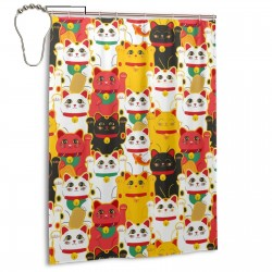 Lucky Cat (2) Shower Curtain , Shower Bathroom Curtain 55x72 Inch Waterproof Fabric with Hooks , Wildly used in bathroom and hotel etc.