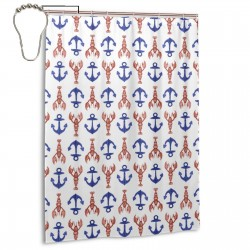 Lobster And Anchors Shower Curtain , Shower Bathroom Curtain 55x72 Inch Waterproof Fabric with Hooks , Wildly used in bathroom and hotel etc.