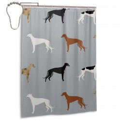 Greyhounds Pattern Grey Shower Curtain , Shower Bathroom Curtain 55x72 Inch Waterproof Fabric with Hooks , Wildly used in bathroom and hotel etc.