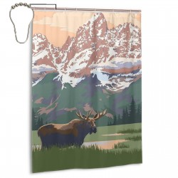 Grand Teton National Park - Moose And Mountains Shower Curtain , Shower Bathroom Curtain 55x72 Inch Waterproof Fabric with Hooks , Wildly used in bathroom and hotel etc.