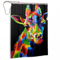 Giraffe Colorful Bright Head Shower Curtain , Shower Bathroom Curtain 55x72 Inch Waterproof Fabric with Hooks , Wildly used in bathroom and hotel etc.
