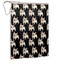 French Bulldog Shower Curtain , Shower Bathroom Curtain 55x72 Inch Waterproof Fabric with Hooks , Wildly used in bathroom and hotel etc.