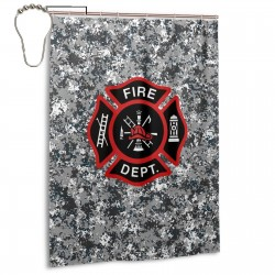 Fire Department Logo Firefighter Shower Curtain , Shower Bathroom Curtain 55x72 Inch Waterproof Fabric with Hooks , Wildly used in bathroom and hotel etc.