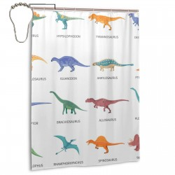 Different Types Of Dinosaurs Shower Curtain , Shower Bathroom Curtain 55x72 Inch Waterproof Fabric with Hooks , Wildly used in bathroom and hotel etc.