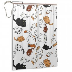 Cute Cat Shower Curtain , Shower Bathroom Curtain 55x72 Inch Waterproof Fabric with Hooks , Wildly used in bathroom and hotel etc.
