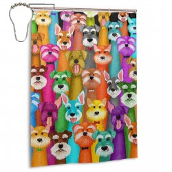 Colorful Oil Cute Schnauzer Dogs Shower Curtain , Shower Bathroom Curtain 55x72 Inch Waterproof Fabric with Hooks , Wildly used in bathroom and hotel etc.